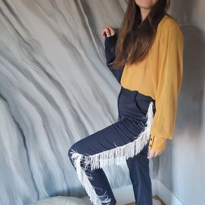 CREATURES OF COMFORT navy trousers w/ white fringe